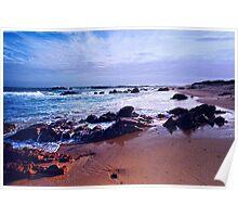 Blue Sea & Rocks Poster