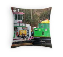 Bright Boat and Barge Throw Pillow