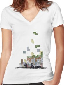 MineTetris Women's Fitted V-Neck T-Shirt