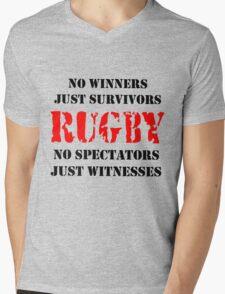 NO WINNERS JUST SURVIVORS RUGBY Mens V-Neck T-Shirt