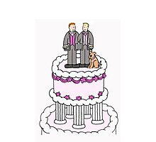 Two grooms and a cake. Photographic Print