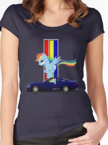 Mustang Rainbow Dash  Women's Fitted Scoop T-Shirt