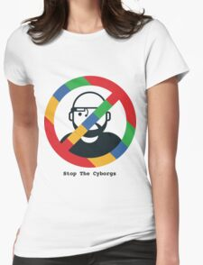 Support The Humans - Stop The Cyborgs Womens Fitted T-Shirt