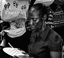 Straw Market Lady at work in Nassau, The Bahamas by 242Digital