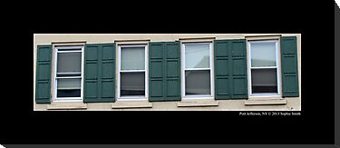Vintage Windows With Green Exterior Shutters On Main Street - Port Jefferson, New York by © Sophie W. Smith