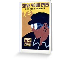 Steam Punk WPA Vintage Safety Poster Greeting Card