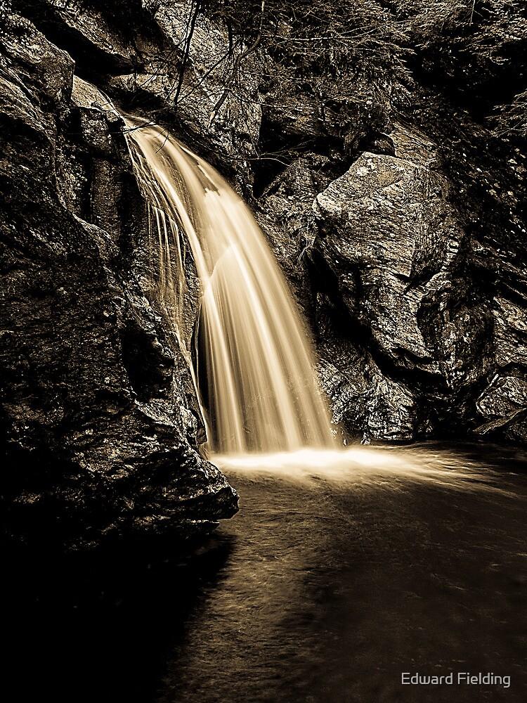 Waterfall Stowe Vermont Sepia Tone by Edward Fielding