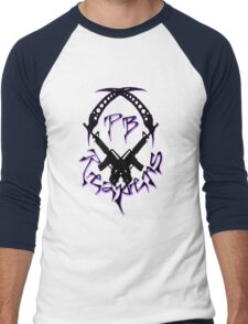 PB Logo Black & Purple Large Men's Baseball ¾ T-Shirt