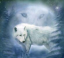 White Wolf - Moon Spirit 2 by Carol  Cavalaris