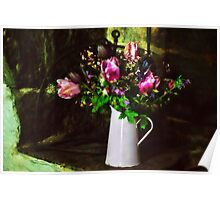 Flowers On The Hearth Poster