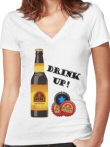 Sunset Sarsaparilla Bottle Women's Fitted V-Neck T-Shirt
