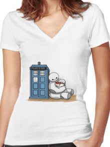Doctor Mochi Women's Fitted V-Neck T-Shirt