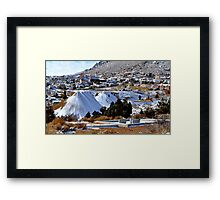 graves, mine tailings, churches and Virgina City.... Framed Print