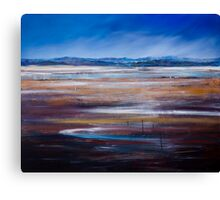 LOW TIDE - LOOKING OVER THE SALT PANS TOWARDS MOREY'S PROPERTY, TASMANIA Canvas Print