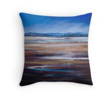 LOW TIDE - LOOKING OVER THE SALT PANS TOWARDS MOREY'S PROPERTY, TASMANIA Throw Pillow