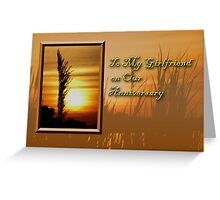 To My Girlfriend On Our Anniversary Sunset Greeting Card