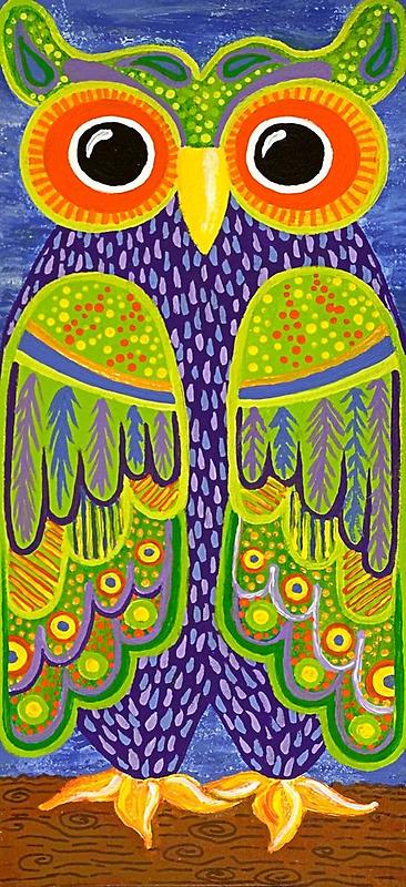 Wonderful Whimsical Owl no.1 by Lisa Frances Judd~QuirkyHappyArt