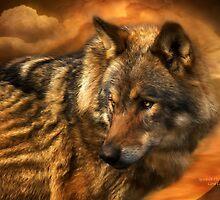 Wolf - Spirit Of The Golden Moon by Carol  Cavalaris
