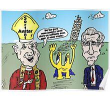 Options Binaires pour trois caricatures sortant d'Italie Poster