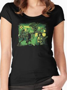 Jurassic Xenomorphs Parody Mashup Women's Fitted Scoop T-Shirt