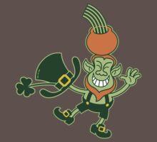 Green Leprechaun Balancing a Pot on his Head Kids Clothes