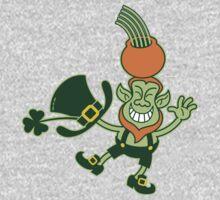 Green Leprechaun Balancing a Pot on his Head One Piece - Long Sleeve