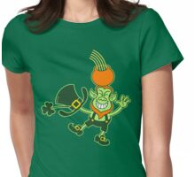 Green Leprechaun Balancing a Pot on his Head Womens Fitted T-Shirt