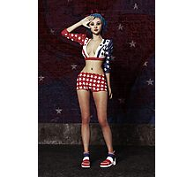 Anime Girl - Stars and Stripes Photographic Print