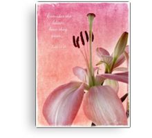 Consider the lilies... Canvas Print