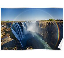 Full circle rainbow over the Victoria Falls Poster