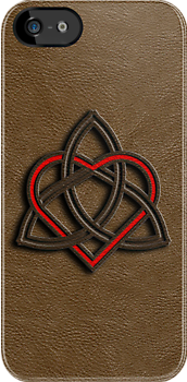 Celtic Knot Valentine Heart Brown Leather by Brian Carson