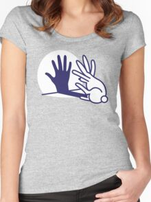 hand shadow rabbit Women's Fitted Scoop T-Shirt