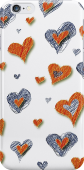 Scribbled Hearts iPhone iPod Case by wlartdesigns