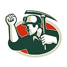 Coal Miner Pump Fist With Pick Ax Retro by retrovectors