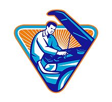 Automobile Mechanic Repair Car Retro by retrovectors