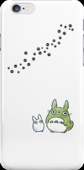 Small Totoro and makkurokurosuke by LadyTakara
