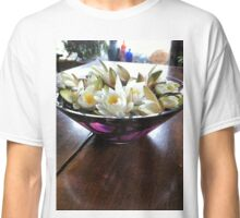 White waterlilies floating in a clear purple glass bowl Classic T-Shirt
