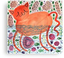 The Cat That Swims With The Fishes Canvas Print