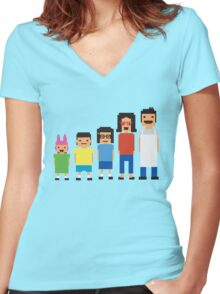 8-Bit Burgers Women's Fitted V-Neck T-Shirt