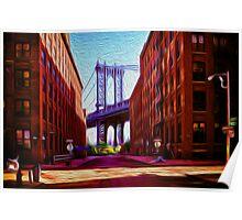 Down under Manhattan Bridge overpass Poster