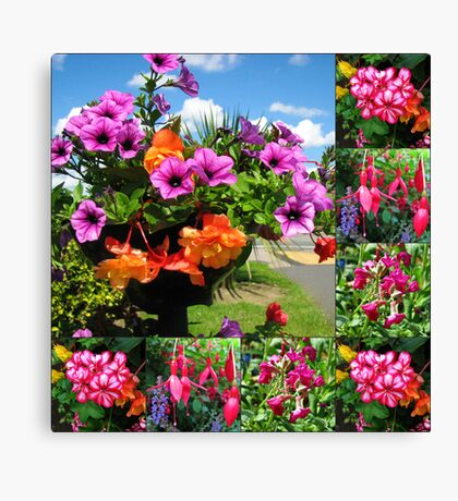 Pink Delight - Summer Flowers Collage Canvas Print