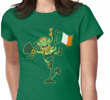 Green Leprechaun Singing on a Flag Pole Womens Fitted T-Shirt