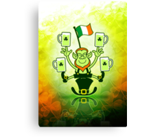 Leprechaun Juggling Beers and Irish Flag Canvas Print