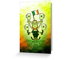 Leprechaun Juggling Beers and Irish Flag Greeting Card