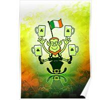 Leprechaun Juggling Beers and Irish Flag Poster