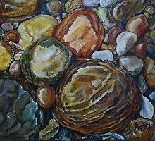River Stones Oil Painting by Avril Brand