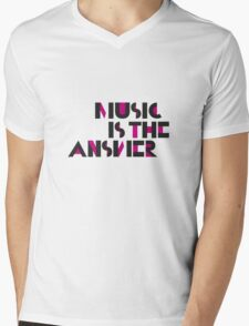Music is the Answer II Mens V-Neck T-Shirt