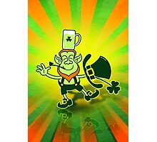 Leprechaun Balancing a Glass of Beer on his Head Photographic Print