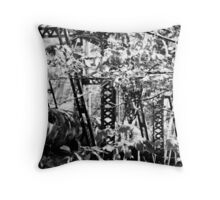 steel bridge grown over~ Throw Pillow