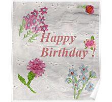 Happy Birthday Flowers Poster
